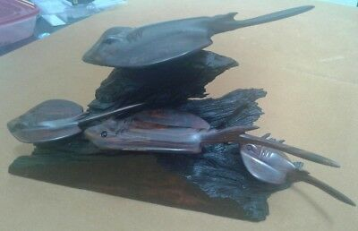 Vtg Swiveling 5 piece Hand Carved Black Ironwood Stingray aquarium Style Statue