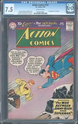 Action Comics (1938) #253 Cgc 7.5 Vf- Ow 2Nd  Supergirl App