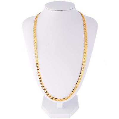 "Men's Stainless Steel 18K Gold Filled Curb Cuban Chain Necklace 24"" Modern SC"