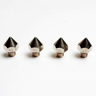 DIKAVS 4PCS 3D Printer Precision Stainless Steel M6 Nozzle 0.4mm For 1.75... New