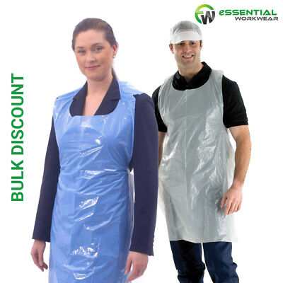 Disposable High Density Polythene Aprons Flat Pack White or Blue Catering Baking