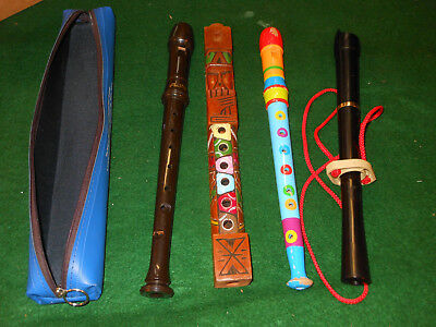 4 Vintage  Musical RECORDERS Instruments and case