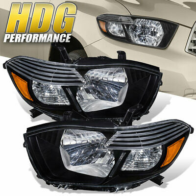 Headlights 2008-2010 Toyota Highlander Black Clear Lens w/ Amber Corner Signal