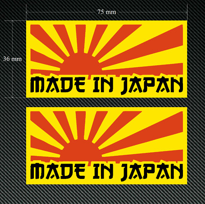 MADE IN JAPAN RISING SUN Yellow Stickers/Decals 2 x 75mm - Printed & Laminated