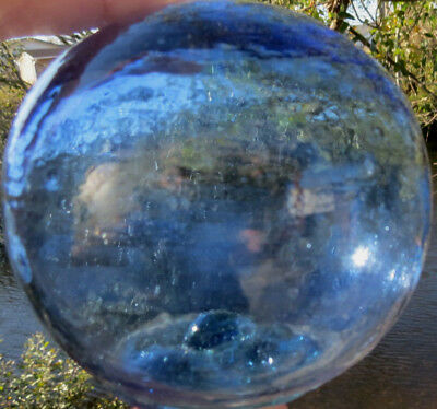 """Japanese Blown GLASS FLOAT 3.5"""" Blue Striated Pale Green Seal Bubbles Vtg"""