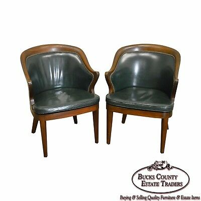 Quality Pair of Solid Mahogany Barrel Back Office Arm Chairs in Green Leather
