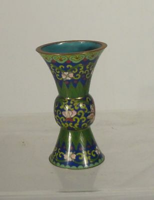 Antique Vintage Chinese Cloisonne Miniature Gilt Bronze Gu Type Vase