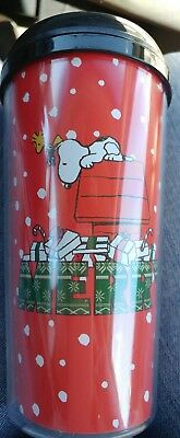 "SNOOPY PLASTIC 16 oz PEANUTS SNOOPY TRAVEL CUPS, COFFEE MUG ""MERRY"" RED NEW"