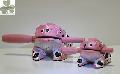 "2 Frogs, Guiro Rasp, Wooden Musical Toy, Pink with White/Black Spots 2"" and 4"""
