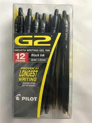 NEW 12 Pack Pilot G2 Ball Point Pens Black Gel Ink Bold Point 1.0mm Retractable
