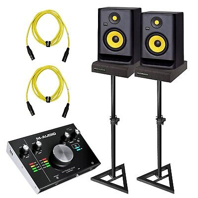 "KRK Rokit RP5G3 5"" Powered Monitors Pair + M-Audio Recording Interface Package"