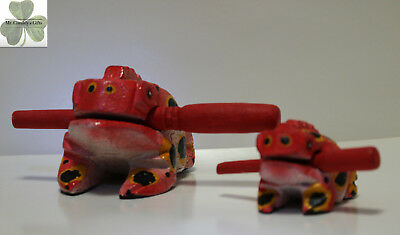"""2 Frogs, Guiro Rasp, Wooden Musical Toy, Orange w Yellow/Black Spots,  2"""" and 4"""""""