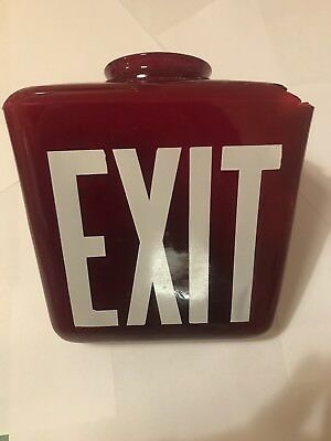 RED Vintage TRIANGLE EXIT Sign Lamp Light Theater Art Deco glass - Globe Only