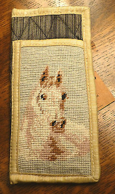 """Horse Quality Needlepoint 7 1/8"""" x 3 1/2"""" Eyeglass / Sunglass Case, New With Tag"""