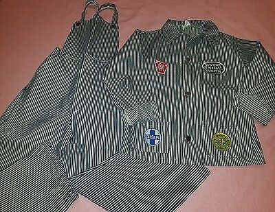 Vintage kids railway worker overalls and jacket set perfect for Halloween
