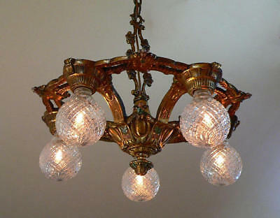 Antique Victorian Art Deco five light chandelier (brass or bronze)