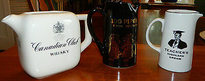 Canadian Club Whisky Teacher's 100 Pipers Pitchers Vintage Bar-ware Man Cave
