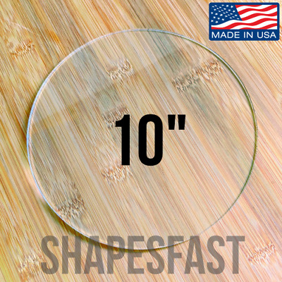 "10"" INCH CIRCLE Clear 1/8"" Acrylic Plexiglass Circle Round Disc Shape Plastic"