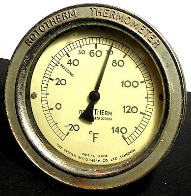 Antique Vintage ROTOTHERM THERMOMETER GAUGE British Made London Steampunk