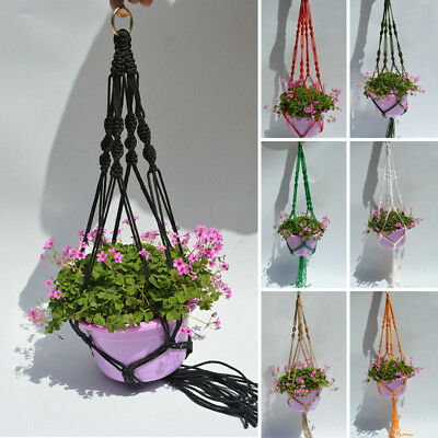 Plant Pot Hanger Macrame Color Jute Indoor Outdoor Ceiling Holder Hanging Basket