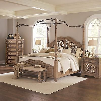 Awesome Antique Linen Wood & Metal Queen Canopy Poster Bed Bedroom Furniture