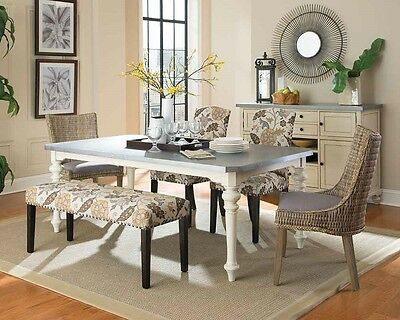 Antique White Zinc Top Dining Room Table With Woven Floral Chairs Furniture Set