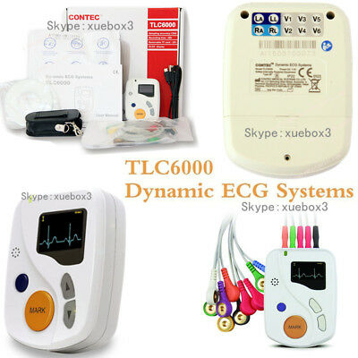 CE 12 Channel ECG EKG Holter,48 Hours heart rate Monitoring, free software OLED