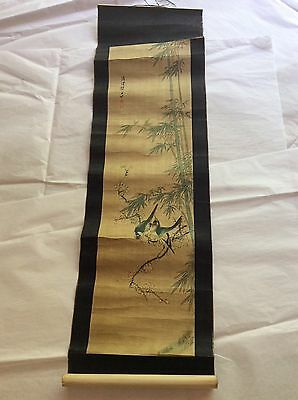 Old Japanese Scroll with Birds on Bamboo Tree