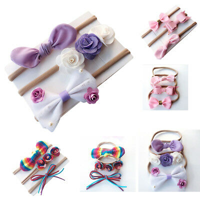 3PCS Cute Baby Kids Girls Toddler Infant Bow Headband Hair Band Headwear set