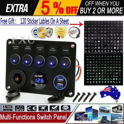Inline Fuse Box LED Rocker Switch Panel Voltmeter USB Charger Socket Boat Marine