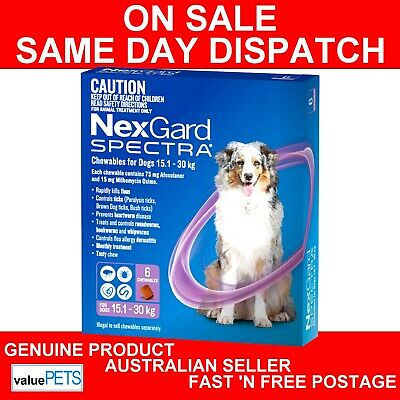 NexGard Spectra Chewables For Large Dogs Purple 15.1-30kg 6 Pack
