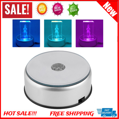 7LED Round Unique Rotating 3D Crystal Colorful Light Base Electric Display Stand