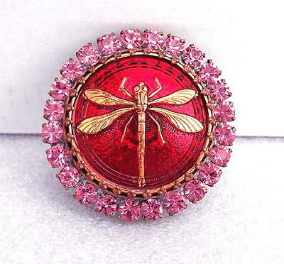 Vintage Style Czech RHINESTONE ALL Glass Button (1 pc) #G369 - DRAGONFLY - LARGE
