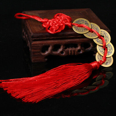 Chinese Knot 5 Coins Red Tassel Handmade Hanging Lucky Feng Shui Car Bag Decor
