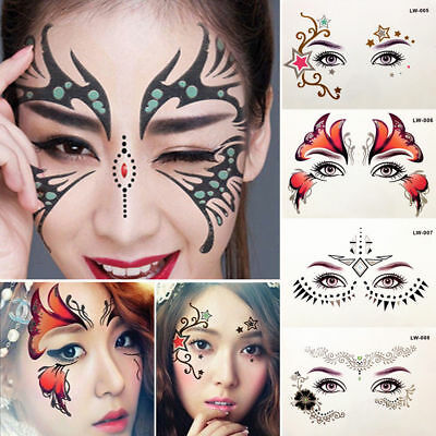 Glitter Temporary Tattoo Stickers Eyes Face Body Art Makeup Halloween Party  Use