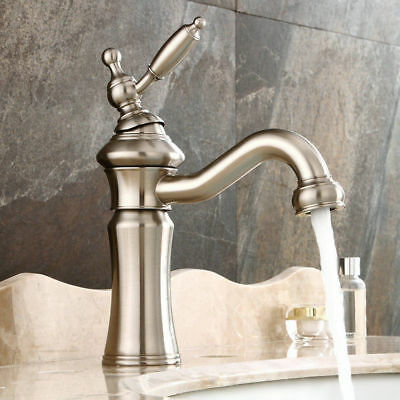 Vintage Mixer Tap Solid Brass Single Hole Bathroom Sink Faucet in Brushed Nickel