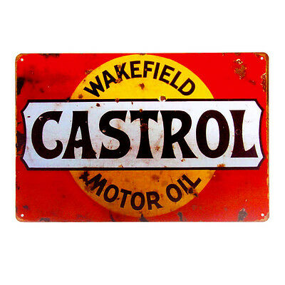 Nice CASTROL Wakefield MOTOR OIL Metal Tin Sign Gasoline Gas Wall Decor Garage