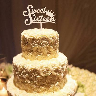 Sweet Sixteen Cake Topper Happy 16th Birthday Wooden Rustic Cake Decorations