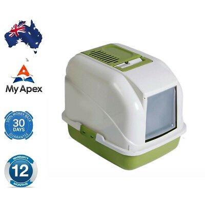 AU Portable Hooded Cat Toilet Litter Box Tray House With Handle and Scoop New