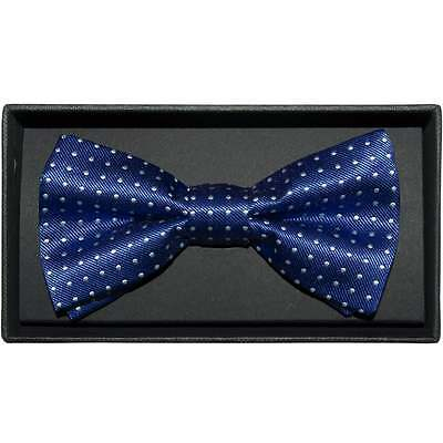 Handmade Blue And White Polka Dot Mens Bow Tie Pre Tied Dickie Bow
