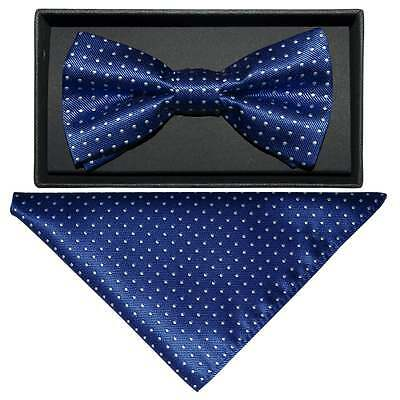 Handmade Blue And White Polka Dot Mens Bow Tie and Handkerchief Set Dickie Bow