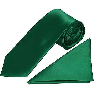 Handmade Plain Forest Green Satin Classic Men's Tie and Handkerchief Set Wedding