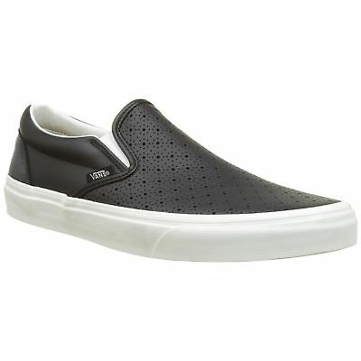 VANS LEATHER PERFORATED Classic Slip-On Black Mens Slip-on Trainers ... ee2342a2d