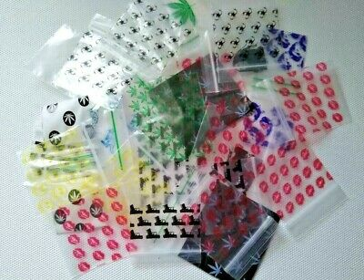 100 small 40&50mm patterned gripseal Resealable/Baggies/baggie 16 designs/mixed