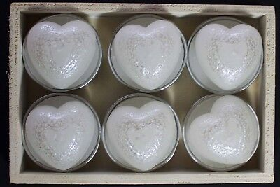 Box of six heart shape glittery silver /'t/' light candles by Parlane