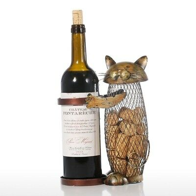 Tooarts Cat Wine Holder Cork Metal Wine Barrel Cork Storage Cage Table Cork
