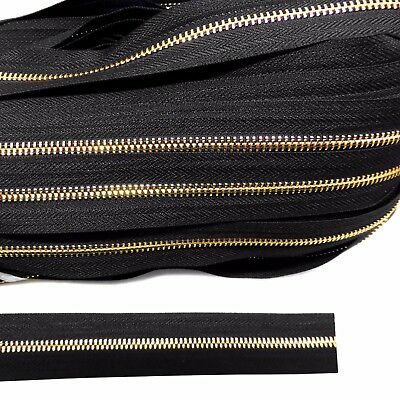 Continuous metal chain zip gold zipping upholstery No.5 B1S