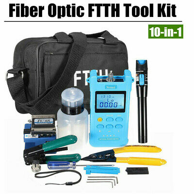 18PCS Fiber Optic FTTH Tool Kit with FC-6S Cleaver & Optical Power Meter Finder
