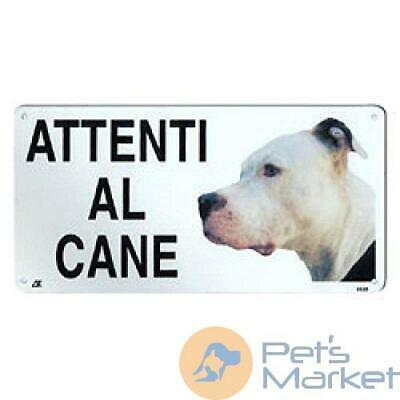 Pets TARGA ATTENTI AL CANE PIT BULL CARTELLO IN METALLO