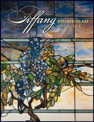 TIFFANY STAINED GLASS COLORING BOOK By Pomegranate *Excellent Condition*